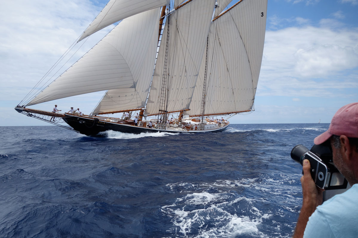 Sailing photographer Michael Kahn on location