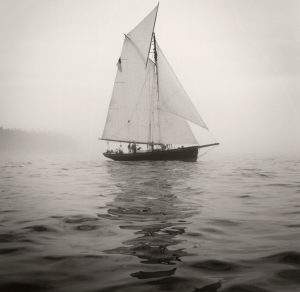 Vela woodenboat in fog Brooklin Maine WoodenBoat school